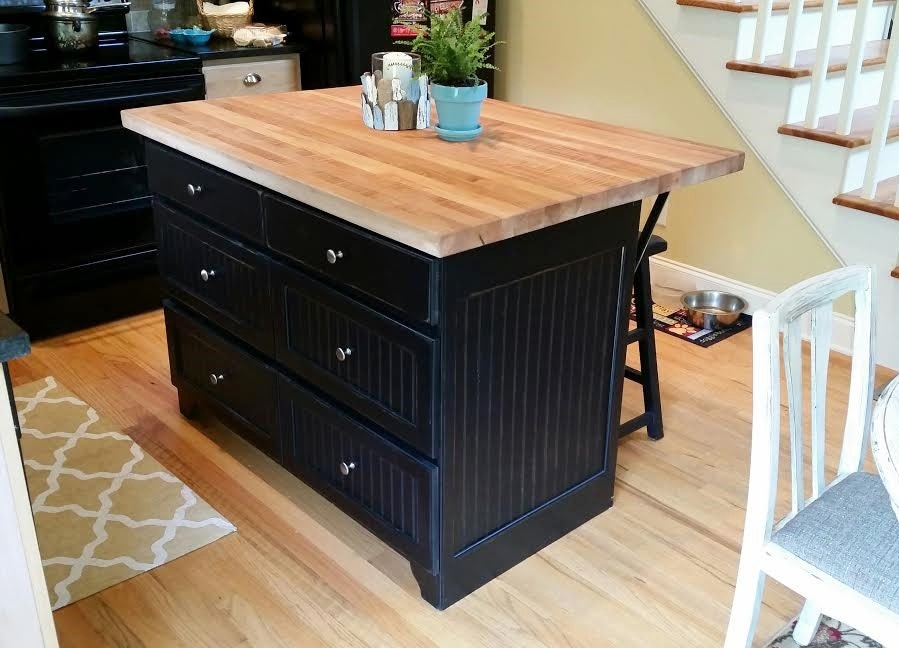 Rustic Handcrafted Kitchen Island with Butcher's Block