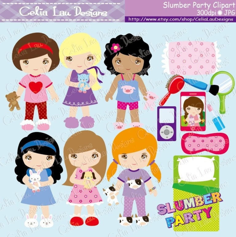Pajama Party Clipart Slumber Party clipart Cute Girl Night