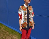 Vintage 80s // short-sleeved shirt // royal & chains print // sailor style // boho // rare // oversize