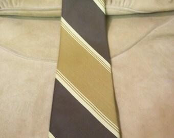 Superba Brown, Tan, and Mustard Diagonal Striped Tie