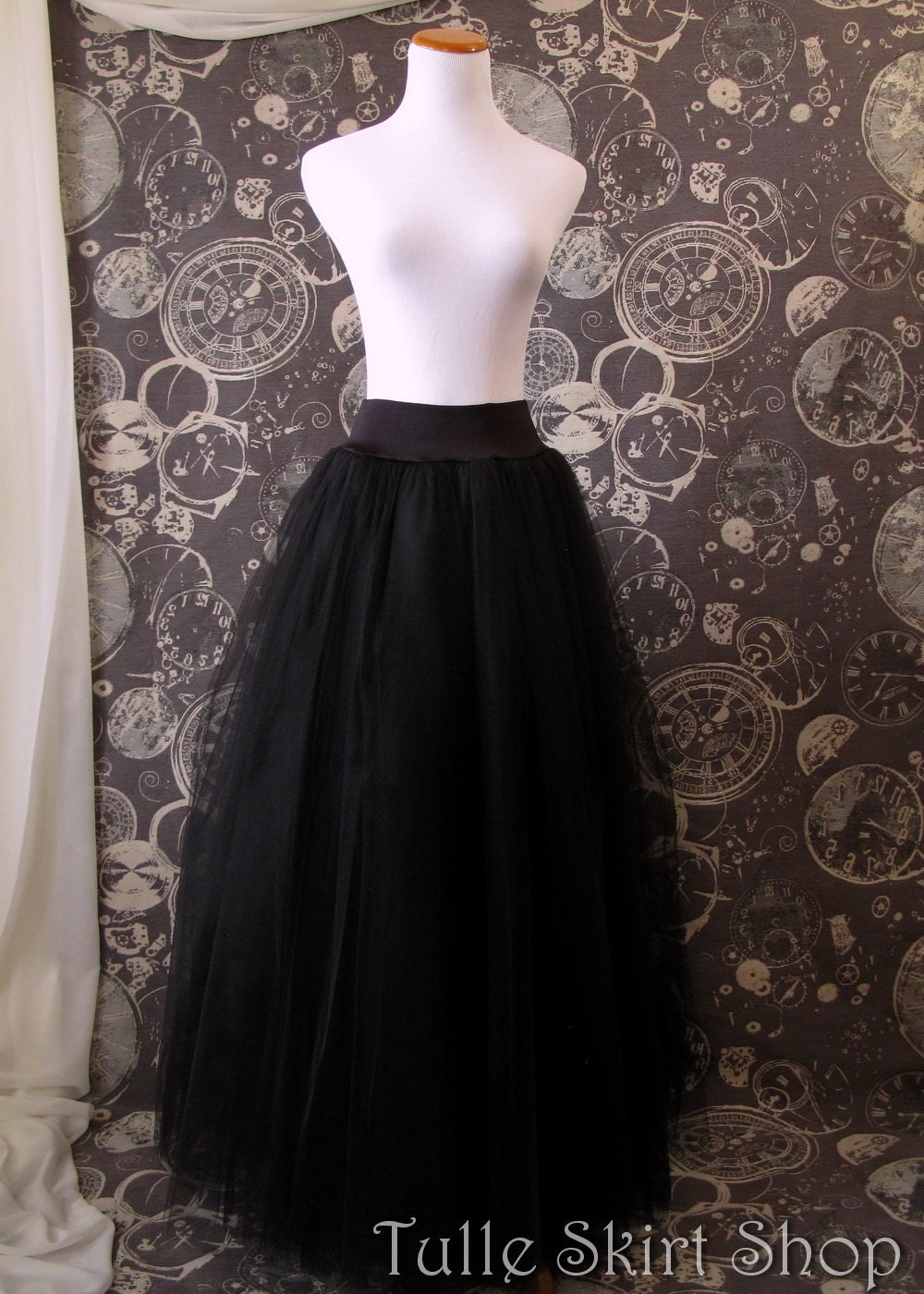 Black Tulle Skirt Stretch drop waist for wearing with corsets