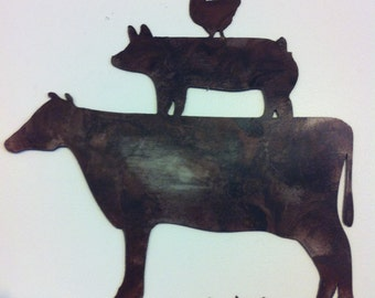 Kitchen Decor Metal Farm Animals Chicken Pig Cow Metal Wall Art Country Rustic Kitchen Decor