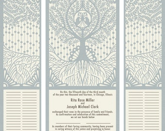 Roots Design custom wedding certificate (inspired by the Quaker tradition)