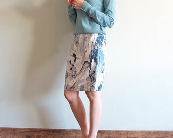 Abstract spilled paint pencil skirt