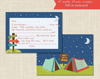 FILL-IN the blank CAMP Stationery, Sleep Away Camp, digital file or professional printing available