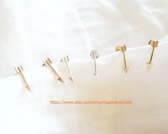 Arrow earrings, gold arrow earrings, silver arrow earrings, rose gold arrow earrings, arrow, earrings, earring, arrow studs
