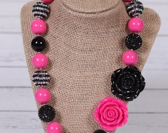 Pink, black and silver sparkly bubblegum necklace chunky bead necklace photography prop girls necklace