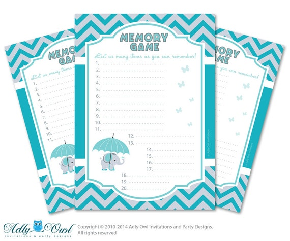 Items Similar To Boy Elephant Memory Game For Baby Shower Printable Card  For Baby Elephant Shower DIY Teal Gray Chevron   ONLY Digital File    Oz16bs16 On ...