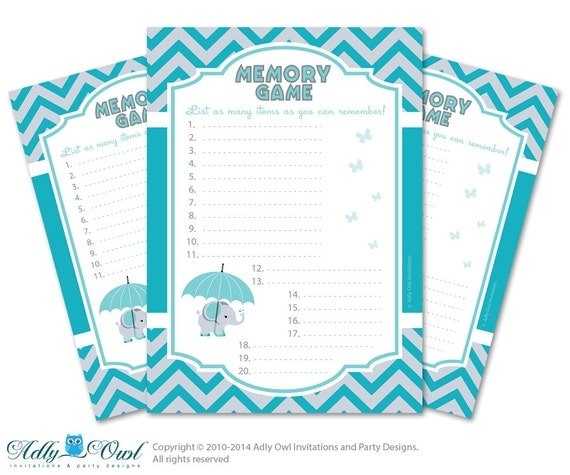 memory game for baby shower printable card for baby elephant shower