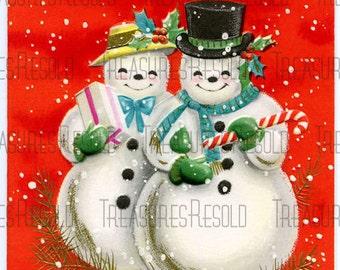 Snowman Couple Christmas Card #146 Digital Download