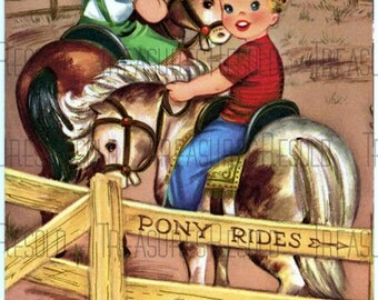 Children Riding Horses Happy Birthday Card #310 Digital Download