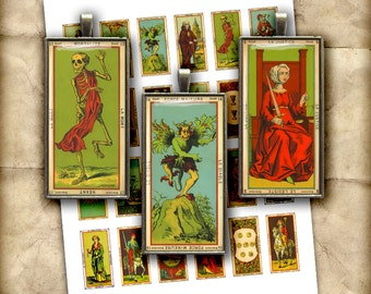 Tarot Cards 1x2 inch, 0.75x1.5inch Domino Rectangular Images for Glass Pendants Digital Collage Sheet Printable Images