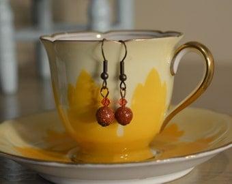 Earring, Goldstone, Gold Stone and Red Carnelian Earrings, 2014 Trendy Earrings