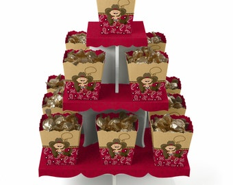 Little Cowboy Centerpiece Stand and 13 Treat Boxes - Western Baby Shower and Birthday Party Favors & Candy Boxes