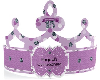 8 Custom Sweet 15 Quince Birthday Party Tiara - Custom Quinceañera Party Hat   50 CUSTOM COLOR OPTIONS- 8 Count