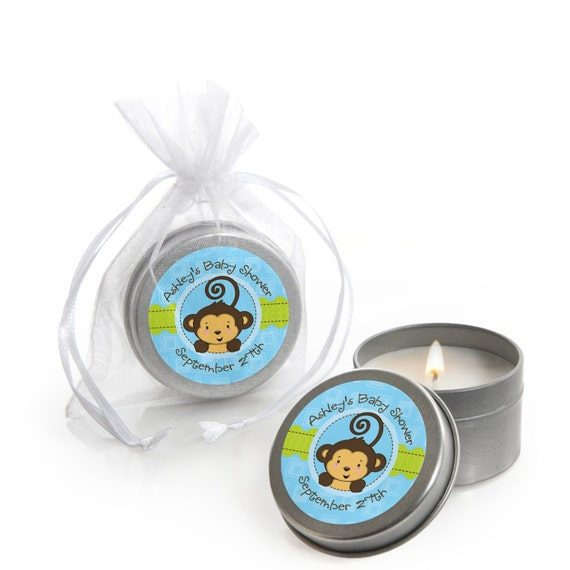 Monkey Baby Shower Party Favors: Blue Monkey Boy Candle Tin Party Favors