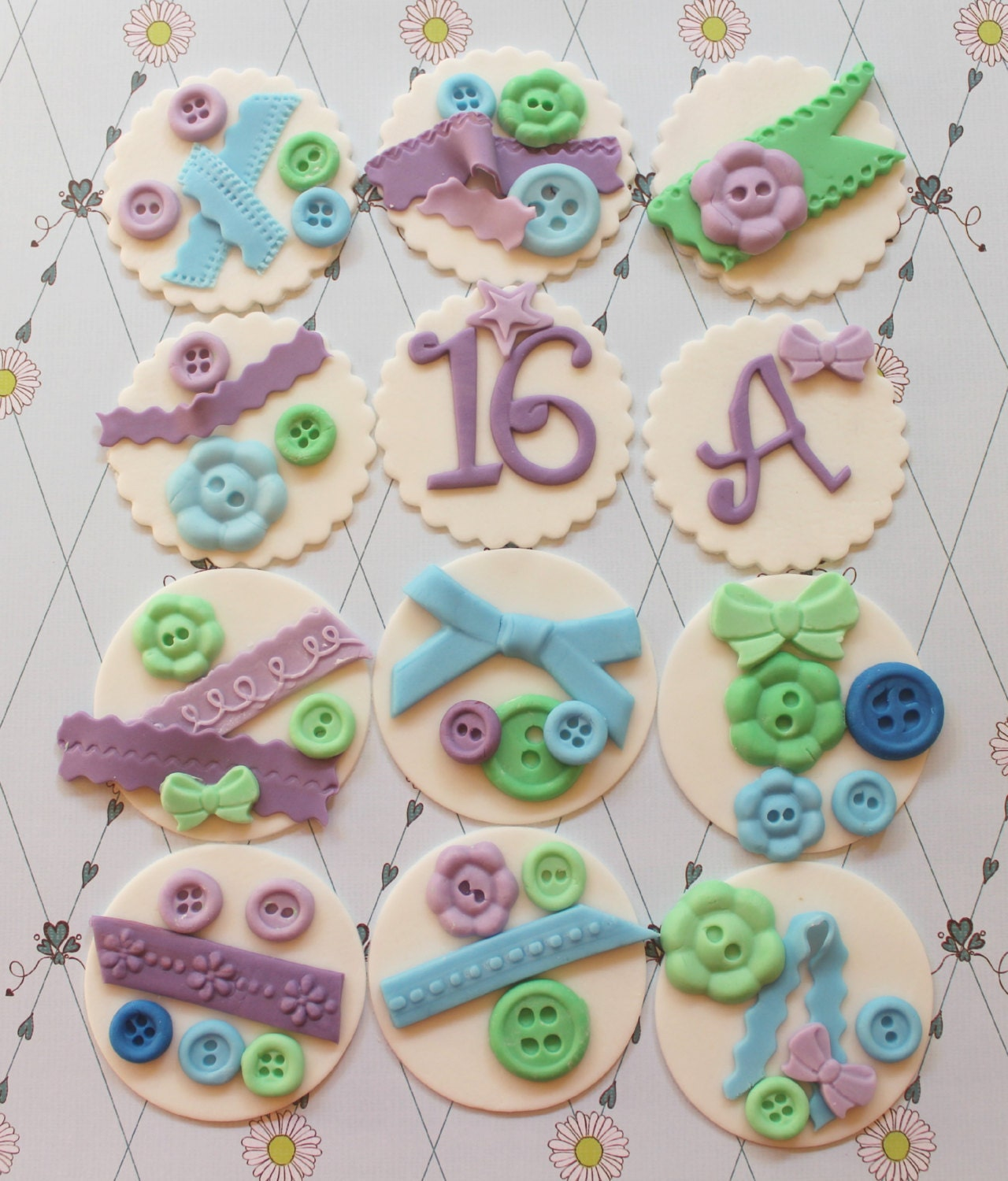 12 baby shower cupcake toppers buttons ribbon lace edible