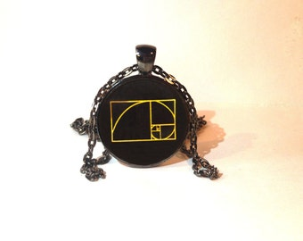 Sacred Geometry Fibonacci Golden Spiral Necklace - Black