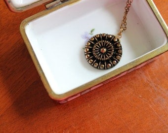 VIctorian/ Art Nouveau Gold Tone Necklace with Black and Gold Glass Pendant