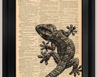"Geco art print. Vintage book page art print. Print on book page.  Fits 8""x10"" frame"