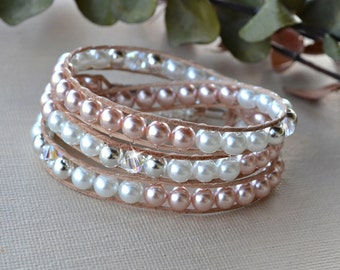 Pink And White Pearl Wrap Bracelet