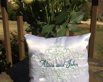 White Satin Wedding Ring Bearers Pillow