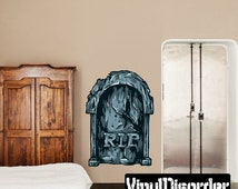 RIP Tombstone Wall Decal - Wall Fabric - Vinyl Decal - Removable and Reusable - TombstoneUScolor001ET
