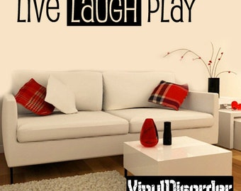 Live Laugh Play Wall Decal - Vinyl Decal - Wall Decal - Mv003ET
