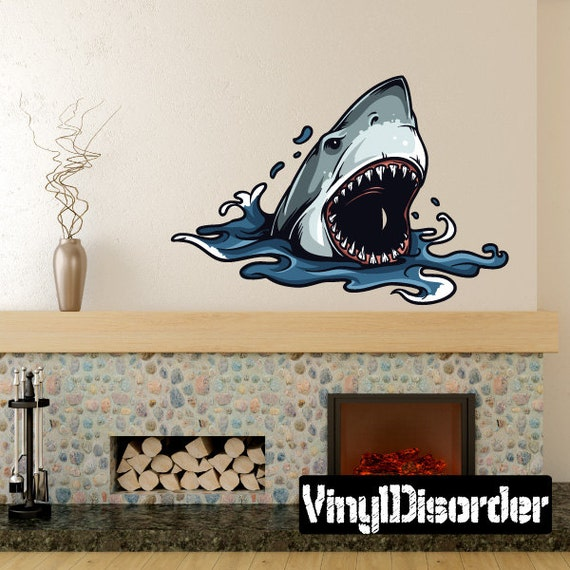 shark wall decal wall fabric vinyl decal removable and. Black Bedroom Furniture Sets. Home Design Ideas