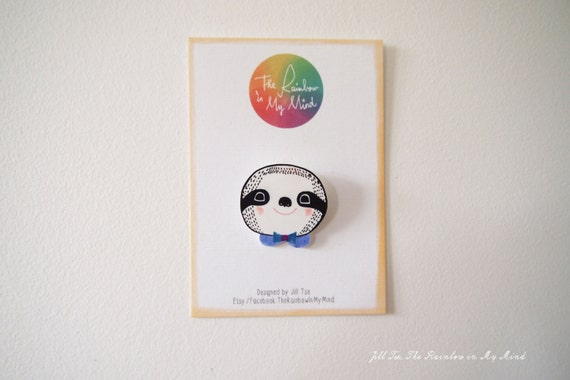 Hand draw Sloth, Animal Brooch, Badges, Happy Sloth with bow tie