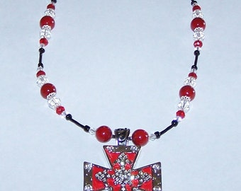 Cowgirl western Necklace hair hyde red cross pendant