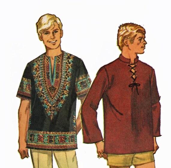 Retro 1960s Mens Dashiki or Laced Tunic Hippie Shirt in Short