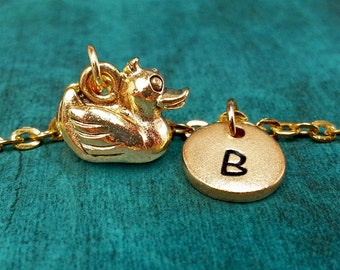 Duck Necklace, Rubber Ducky Charm Necklace, Personalized Necklace, Pendant Necklace, Engraved Necklace Gold Duck Necklace Ducky Keychain