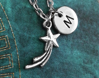 Shooting Star Necklace, Personalized Necklace, Star Pendant, Custom Necklace, Silver Jewelry, Wish Charm Necklace Hand Stamped Jewelry
