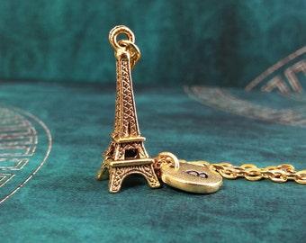 Eiffel Tower Necklace Gold Eiffel Tower Necklace Personalized Necklace Pendant Necklace Engraved Necklace Gold Charm Necklace France Paris