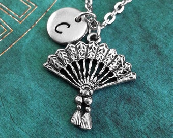 Hand Fan Necklace, Personalized Necklace, Hand Fan Pendant, Custom Necklace, Hand Fan Charm Necklace, Japanese Jewelry, Japanophile Gift
