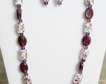 Purple and White Lampwork Beaded Necklace and Earrings - Bead Jewelry Set - Glass Jewelry
