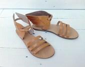 Sandals Ancient Greek handmade  Leather HERMES Women's Natural color
