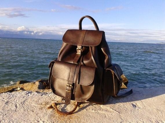 Leather Backpack Dark Brown Handmade three pockets plus