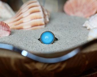 Teal Adjustable Ring -Antique Bronze