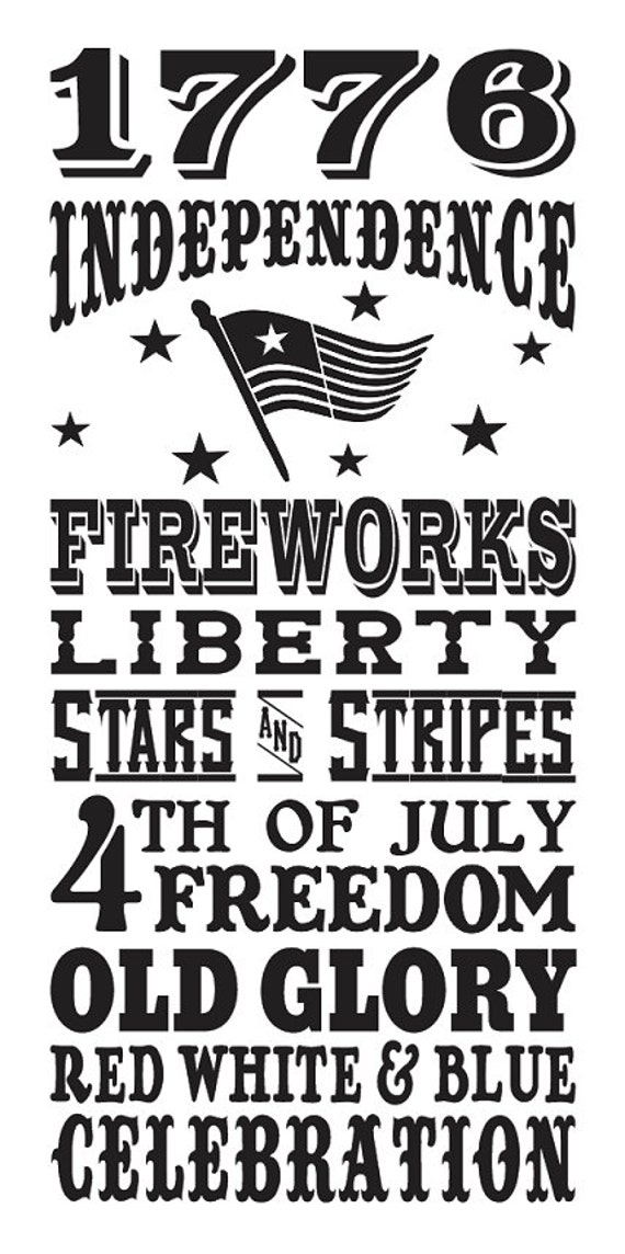 Primitive 4th Of July Stencil 1776 By Oaklandstencil On Etsy