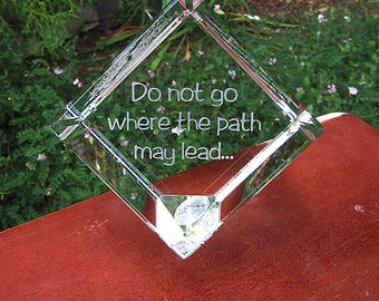 Personalized Engraved Crystal Cube - Inspirational engraved glass spinning cube, crystal gift, crystal award