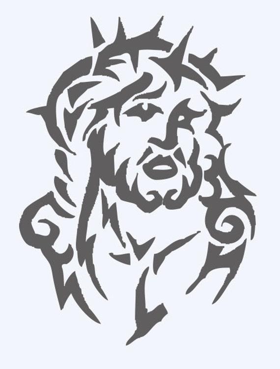 jesus with crown of thornes tribal tattoo design. Black Bedroom Furniture Sets. Home Design Ideas