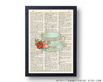 Vintage Mint Tea cup Dictionary art print, Teacup Wall Art Print, 8x10 Wall Decal, illustration old dictionary page print, Wall decor