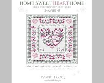 CROSS STITCH KIT Home Sweet Heart Home Sampler by Riverdrift House
