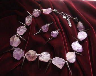 Natural Raw Amethyst Necklace,Earring Statement Set / Natural Stone and Spike Necklace & Earring Set / Chunky Summer Statement Jewelry