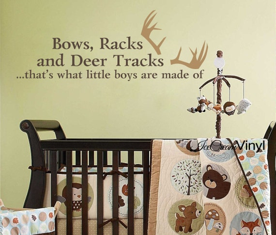 Bows Racks Deer Tracks That's What Little Boys Are Made Of Wall Decal Hunting Wildlife Boys Girls Room