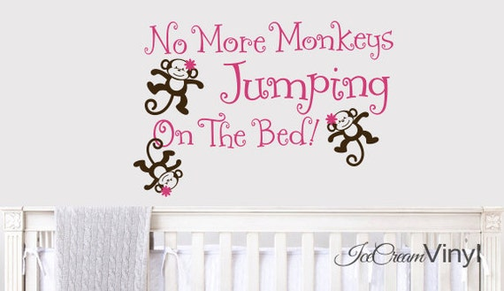 No More Monkeys Jumping On The Bed Decal for Girls Boys Nursery Bedroom Playroom Vinyl Childrens Decor