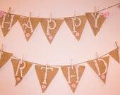 Burlap Birthday Banner, Cowgirl Birthday Banner, Western Birthday Banner, Shabby Chic Birthday Banner, Cowgirl Birthday, Girls Birthday