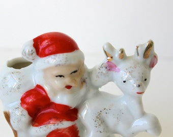Vintage Santa on Sleigh with Reindeer Porcelain Figurine Japan